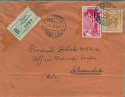 1937 , TERRITORIOS ITALIANOS EN AFRICA , TRIPOLITANIA - SOBRE CERTIFICADO ENTRE AZIZIA Y ALESSANDRIA , LLEGADA. - Tripolitania