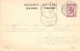 Finland 1920 Postal Stationery Card From Loimaa To Lappeenranta (28) - Postal Stationery