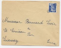 GANDON 15FR BLEU LETTRE COVER ANNULATION PETIT 7 INDEX - 1945-54 Marianne De Gandon