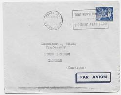 GANDON 15FR BLEU SEUL PERFORE TC$S PARIS 123 1954 + VERTSO THOMAS COCK $ SON LETTRE AVION POUR LE CAMEROUN - 1945-54 Marianne (Gandon)