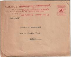 """ESC De L'Agence Havas, EMA 50C B0001"""" Machine à Affranchir Havas Valeurs Multiples"""" 1929 RR - Freistempel"""