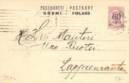 Finland 1921 Postal Stationery Card From Helsinki To Lappeenranta (37) - Postal Stationery