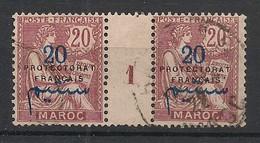 Maroc - 1914-21 - N°Yv. 43 - Type Mouchon 20c Grenat - Paire Millésimée - Oblitéré / Used - Used Stamps