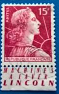FRANCE-1955-'MARIANNE Du MULLER-''CAT Michel 1036-avec Vignette-used - Gebraucht