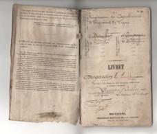 ° LIVRET MILITAIRE BELGE ° REGIMENT DE CARABINIERS ° 3ème REGIMENT DE LIGNE ° ANVERS 1er Juillet  1852 ° - Historical Documents