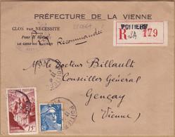 22066# CONQUES GANDON ENVELOPPE RECOMMANDE PREFECTURE Obl POITIERS VIENNE 1948 GENCAY - 1921-1960: Periodo Moderno
