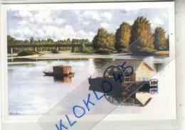 """45 GIEN TELETHON 2008 - """" Pont Canal De Briare """" Oeuvre  Félix Escolar  - Bateau Roue Aubes Pont - CPM Reproduction - Briare"""