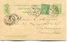 PRECURSEUR CARTE POSTALE REPONSE : 1897 - Entier Postal - Cachet LUXEMBOURG GARE - 1895 Adolphe Profil