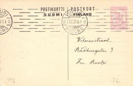 Finland 1925 Postal Stationery Card From Viipuri To Wilmanstrand/Lappeenranta (53) - Postal Stationery