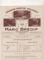 TARIF GRANDS VINS DE VOUVRAY MARC BREDIF à ROCHECORBON INDRE & LOIRE AVEC ENVELOPPE VOYAGEE EN 1930 + ETIQUETTE - Advertising