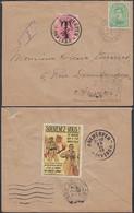 Belgique 1919- Lettre Taxée TX18 + Vignette Militaire Au Versos- Timbre Nr. 137 De Bruxelles Vers Anvers...(DD) DC-9689 - Lettere