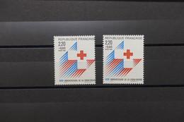 FRANCE - Variété - N° Yvert 2555 - Croix Rouge 1 Exemplaire Petit Piquage à Cheval +1 Normal - Neufs **  - L 81837 - Abarten: 1980-89 Ungebraucht