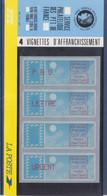 Plaquette PTT 4 Timbres De Distributeur Service Philatélique 1.70f, 3.70f, 2.10f Et 5.00f, Neufs Support Bleu - 1985 Papier «Carrier»