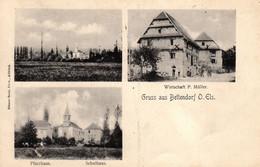 Thematiques 68 Haut Rhin Bettendorf Gruss Aus  O Els Pfarrhaus Schulhaus Wirtschaft P Müller Timbre Cachet 21 04 1908 - Other Municipalities
