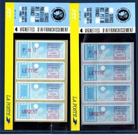 2 Plaquettes PTT 4 Timbres De Distributeur Service Philatélique 1.70f, 3.70f, 2.10f 5.00f, Neufs Support Bleu Et Blanc - 1985 Papier «Carrier»