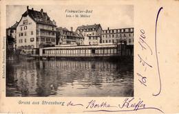 Thematiques 67 Bas Rhin Strasbourg  Strassburg Gruss Aus Strassburg Finkweiler Bad Timbre Cachet 13 07 1900 - Strasbourg