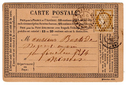YT 55 SUR CARTE POSTALE PRECURSEUR - ETOILE DE PARIS 7 - R. DES VLLES HAUDRIETTES - - 1849-1876: Classic Period