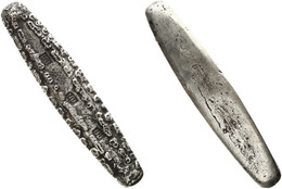 Primitive Money, Laos, Original Silver Tiger Tongue Money (11,50 Cm - 106 Gram) In Excellent Condition - Origine Sconosciuta