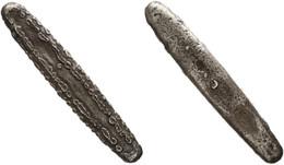 Primitive Money, Laos, Original Silver Tiger Tongue Money (12,50 Cm - 112 Gram) In Excellent Condition - Origine Sconosciuta