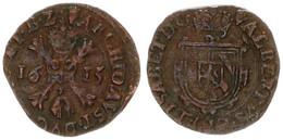 Spanish Netherlands, Brabant, Albert & Elizabeth, 1/2 Liard (Gigot) Copper 1615 Crowned Shield, KM 32.1 Antwerp, VF - [ 1] …-1795 : Periodo Antico