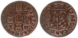 Liege, Bishopric, John Theodore, 1 Liard Copper 1750 Crowned Arms, KM 155, XF/AU - [ 1] …-1795 : Periodo Antico