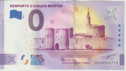 Billet Touristique 0 Euro Souvenir France 30 Remparts Aigues Mortes 2020-1 N°UEGR006715 - Private Proofs / Unofficial