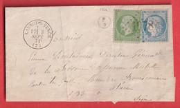 N°20 37 DU 3 SEPTEMBRE 1871 GC 1978 LAUNOY SUR VENCE ARDENNES POUR PARIS BOITE RURALE F/2 - 1849-1876: Période Classique