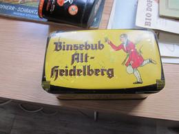 Old Tin Box Binsebub Alt Heidleberg P J Landfried Tabakfabrik Heidelberg  100 Gramm Pil Krullschnitt - Schnupftabakdosen (leer)
