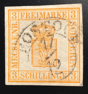 1856 Mi 2b LUXUS Gepr Jäschke-Lantelme BPP: Mecklenburg-Schwerin 3 S Gelblichorange Stempel ROSTOCK (XF Used, SUPERBE - Mecklenburg-Schwerin