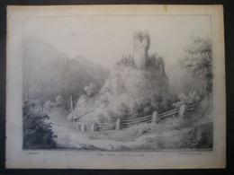 Deutschland 1835- Zeichnung Ruine Alt Urach, Chateau Urach Im Hochschwarzwald - Dessins
