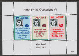 Palatine (Fantasy) Quotations By Anne Frank #1 Perf Deluxe Glossy Sheetlet Containing 3 Values , See Details - Cinderellas