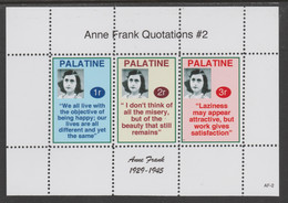Palatine (Fantasy) Quotations By Anne Frank #2 Perf Deluxe Glossy Sheetlet Containing 3 Values , See Details - Cinderellas