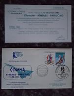 CONCORDE - Vol Olympique AF Du 14/12/91 – Olympie – Athènes – Paris CDG Avec Certificat - Concorde