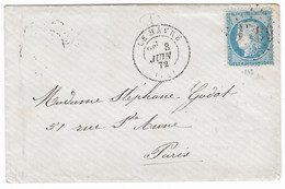 TIMBRES N° 60/ TYPE 1; GRANDE CASSURE ; LETTRE ; 143 A2  4 ème état; LETTRE Ĩ;cachet D'arrivée RC ;TRÈS  RARE; TB - 1871-1875 Cérès