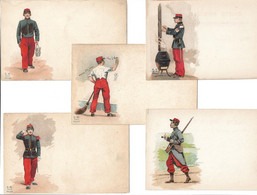 MILITAIRES ILLUSTRES -- Lot De 5 Cartes Anciennes - Uniformen
