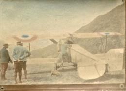 PHOTO FRANÇAISE COLORISEE - AVION BIPLAN NIEUPORT A CORCIEUX PRES DE GERARDMER VOSGES - GUERRE  1914 1918 - 1914-18