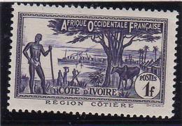 Cote D'ivoire 1944 Region Cotiere 1f YT 173 Neuf** - Nuevos