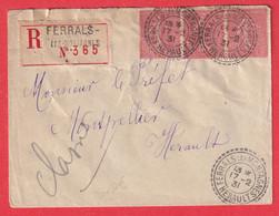 N°199 BANDE DE 3 CAD TYPE FB84 FERRALS EN MONTAGNE HERAULT 1831 RECOMMANDE FACTEUR BOITIER POUR MONTPELLIER 1931 - 1921-1960: Moderne