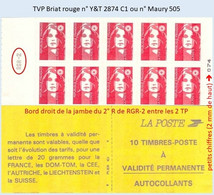 FRANCE - Carnet Avec RGR-2 - TVP Briat Rouge - YT 2874 C1 / Maury 505 - Uso Corrente