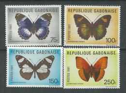 Gabon N° 474 / 77  XX  Faune : Papillons:  Les 4 Valeurs Sans Charnière, TB - Gabon