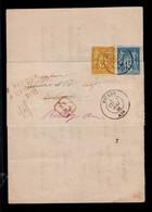 Retour à L'envoyeur Rouge Sur Recommandé De Greffe Avec Affranchissement Type Sage Bicolore YV 90 + 92 - 1876-1898 Sage (Type II)