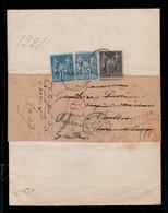 Retour à L'envoyeur Rouge Sur Recommandé De Greffe Avec Affranchissement Sage YV 90 + 90a (def) + 89 Piquage à Cheval - 1876-1898 Sage (Type II)
