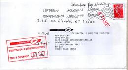 """Lettre Taxée Cachet Manuel Rouge """"Insuffisance D'affranchissement"""" étiquette De Réexpédition + Griffe """"A TAXER"""" Rouge - Non Classificati"""