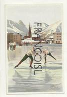 Ville Enneigée. Course De Patinage. Signée Carlo Pellegrini. Vouga & Cie Editeurs - Otros Ilustradores