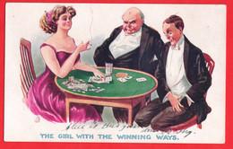 GAMBLING POKER PLAYING CARDS  GIRL WITH WINNING WAYS   1910  INTER ART SERIES - Speelkaarten
