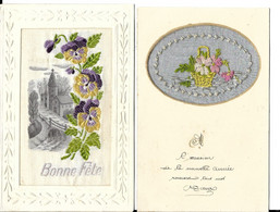 2  CARTES  BRODEES - Embroidered