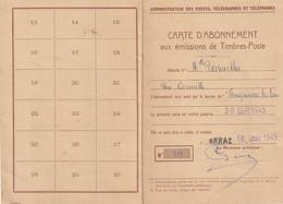 Carte D'abonnement Aux Emissions De T.P. - Fouquières-les-Lens (Pas De Calais) - TP N° 611 (paire - 50F.) Pour Thématiqu - 1921-1960: Modern Tijdperk