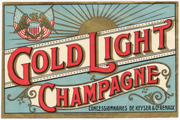 ETIQUETTE GOLD LIGHT CHAMPAGNE CONCESSIONNAIRES DE KEYSER & Co RENAIX - Non Classificati