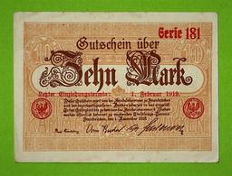 ALLEMAGNE / HANDELSKAMMER SAARBRUCKEN ZEHN MARK / 10 MARK / 01 NOV 1918 - [ 8] Saarland