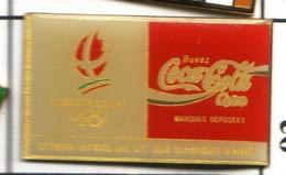 CC112 Pin's Albertville Jeux Olympiques Coca Cola Coke Signé Cojo 1991 époxy Achat Immédiat - Coca-Cola